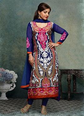 Soha Ali Khan Dark Blue Georgette Straight Suit