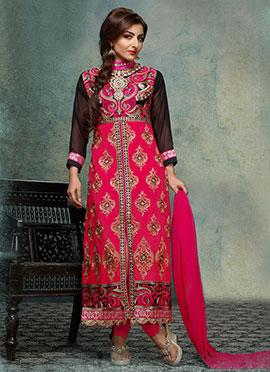 Soha Ali Khan Dark Pink Center Slit Straight Suit