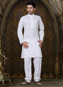 Solid Patterned White Cotton Kurta Pyjama