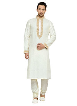 Solid Patterned White Pure Linen Kurta Pyjama