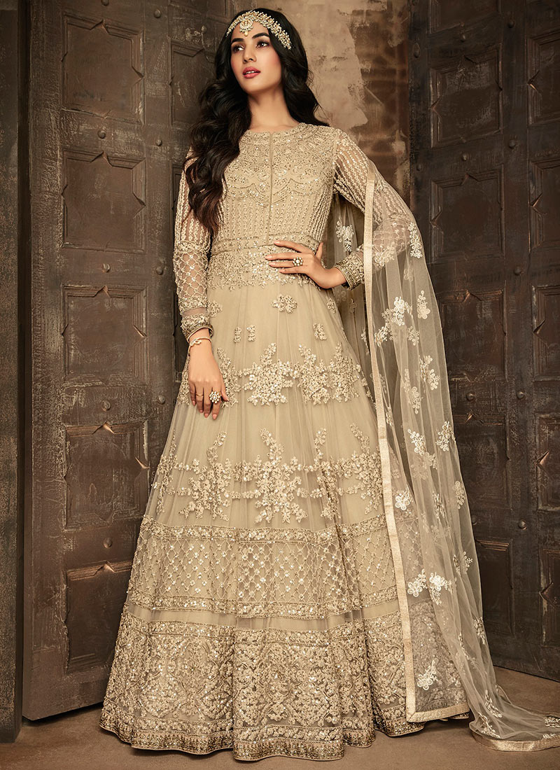 daed8e0bc Buy Sonal Chauhan Beige Embroidered Anarkali Suit
