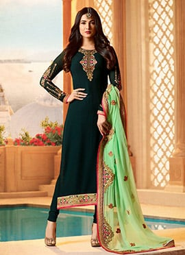 Sonal Chauhan Dark Green Embroidered Straight Suit