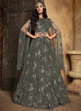 6cdac12ba16 Sonal Chauhan Grey Embroidered Anarkali Suit