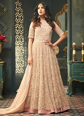 Sonal Chauhan Light Peach Net Anarkali Suit
