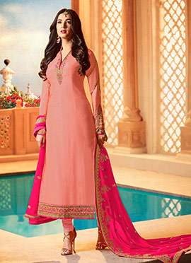 Sonal Chauhan Peach Embroidered Straight Suit