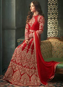Sonal Chauhan Red Net Anarkali Suit
