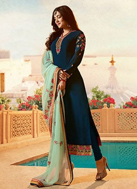 Sonal Chauhan Teal Blue Embroidered Straight Suit