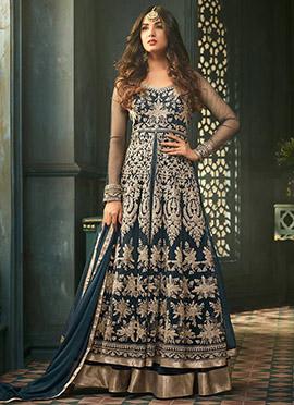 Sonal Chauhan Teal Blue Net Anarkali Suit