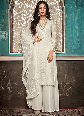 Sonal Chauhan White Embroidered Palazzo Suit