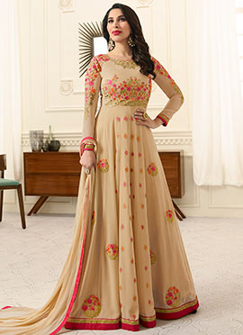 Sophie Choudhry Beige Abaya Style Anarkali Suit
