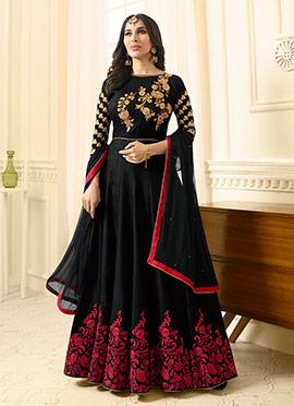 Sophie Choudhry Black Abaya Style Anarkali Suit