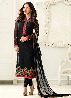 Sophie Choudhry Black Georgette Churidar Suit