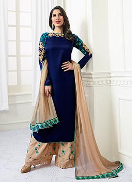 Sophie Choudhry Blue Satin Palazzo Suit