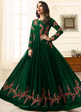 Sophie Choudhry Dark Green Abaya Style Anarkali Suit