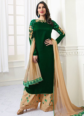 Sophie Choudhry Dark Green Embroidered Palazzo Suit