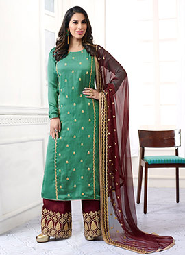 Sophie Choudhry Green Satin Palazzo Suit