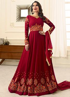 Sophie Choudhry Maroon Abaya Style Anarkali Suit
