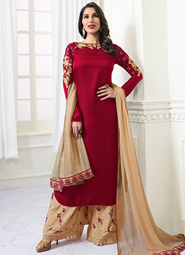 Sophie Choudhry Maroon Embroidered Palazzo Suit