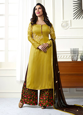 Sophie Choudhry Mustard Satin Palazzo Suit