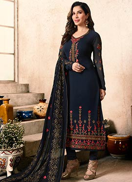 Sophie Choudhry Navy Blue Embroidered Straight Suit