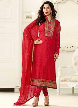 Sophie Choudhry Red Georgette Churidar Suit