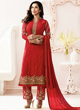Sophie Choudhry Red Georgette Straight Pant Suit