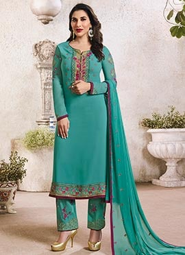 Sophie Choudhry Teal Green Straight Pant Suit