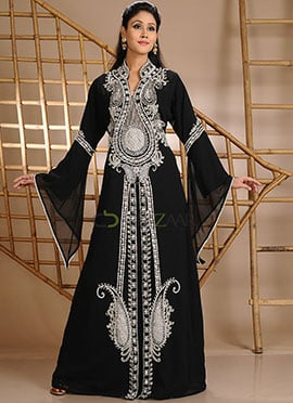 Sparkly Black Georgette Fustan