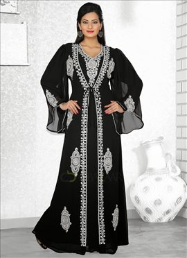 Splendid Black Georgette Fustan