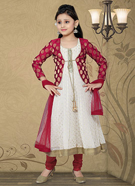 Splendid Off White Chiffon Teens Anarkali Suit