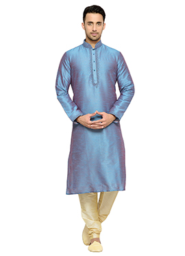 Steel Blue Art Dupion Silk Kurta Pyjama