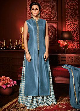 Steel Blue Art Silk Palazzo Suit