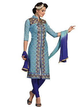Steel Blue Chanderi Silk Cotton Center Slit Churidar Suit