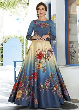 Steel Blue N Beige Art Silk Anarkali Gown
