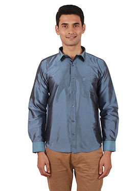 Steel Blue Pure Raw Silk Shirt