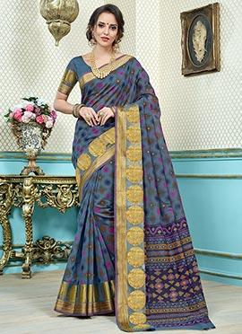 Stone Blue Printed Saree