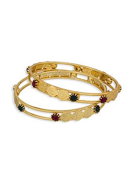 Stone Embellished Golden Colored Bangles
