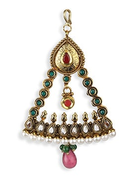 Stone Studded Golden Colored Jhumar