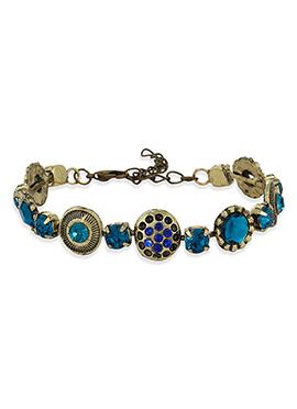 Stone Studded Golden N Blue Bracelet