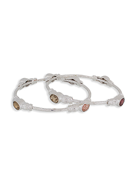 Stone Studded Silver Colored Bangles