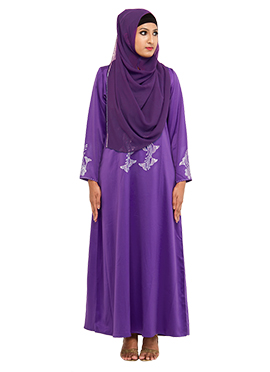 Stones Embellished Purple Abaya