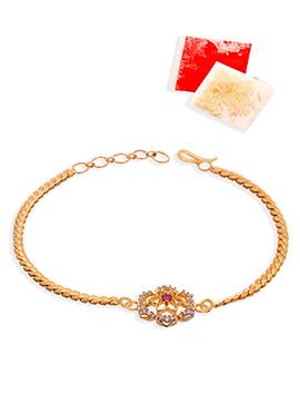 Stones Golden Chained Rakhi