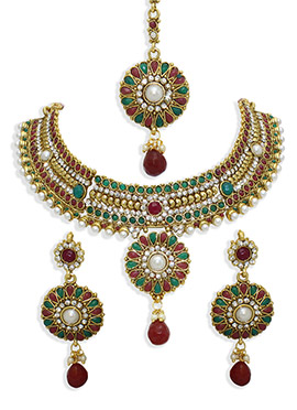Stones N Moti Embellished Necklace Set