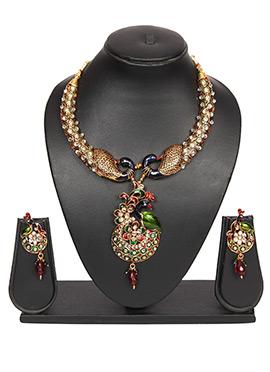 Stones Studded Multicolored Traditsiya Necklace Se