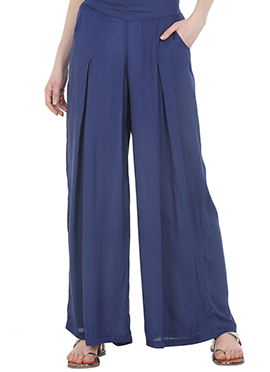 Straight Blue Pleated Palazzo Pant