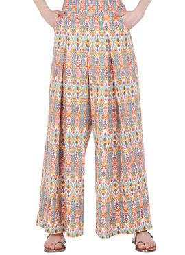 Straight Multicolored Pleated Palazzo Pant
