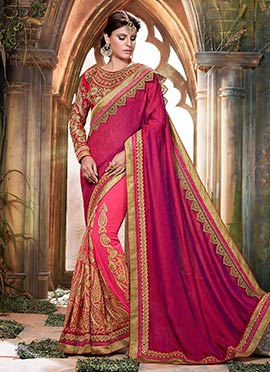 Strawberry Pink N Magenta Half N Half Saree