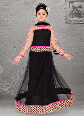 Striking Black Net Teens Lehenga Choli