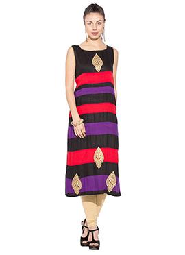 Striped Multicolored Viscose Long Kurti