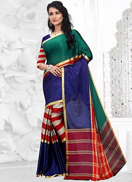 Striped Zari Weaved Multicolored Art Silk Cotton Saree